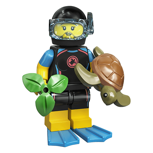 12-lego-71027-femaile-diver-with-turtle-series-20-minifigure